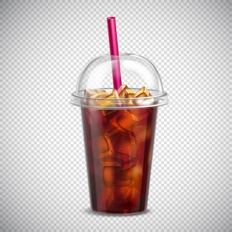 Cola with ice realistic transparent