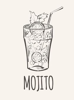 Cold alcoholic drink mojito with ice  sketch