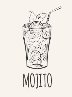 얼음 스케치와 차가운 알코올 음료 모히토