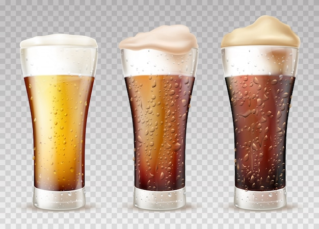 Cold beer or ale in wet glass realistic vector set
