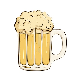 Cold Beer Illustration With Full Foam On White Background