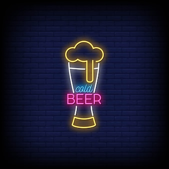 Cold beer neon signs style text