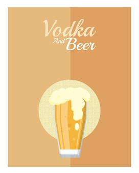 Cold beers glass cup vector illustration graphic design