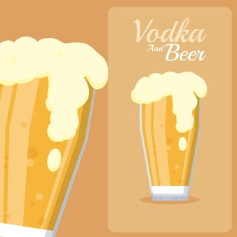 Cold beers glass cups vector illustration graphic design