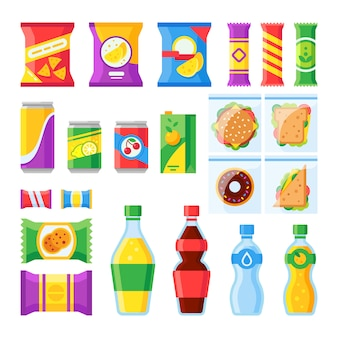 Cold beverages and snack in plastic package merchandising flat vector isolated icons set