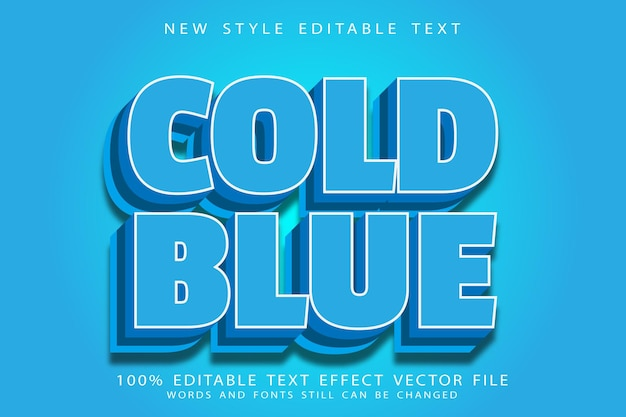Cold blue editable text effect emboss modern style