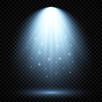 Холодное синее освещение с точечным светом. эффекты освещения сцены на темном прозрачном фоне. векторная иллюстрация