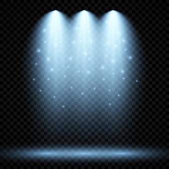 세 개의 스포트라이트가 있는 차가운 파란색 조명. 어두운 투명 배경에 장면 조명 효과. 벡터 일러스트 레이 션