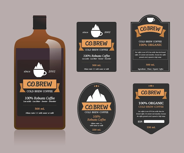 Cold brew coffee labels collection