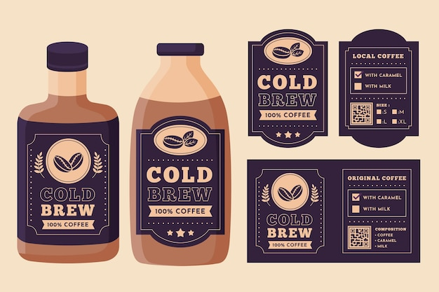 Cold brew coffee labels design
