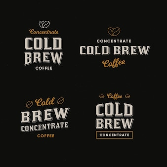 Cold brew coffee logos concept