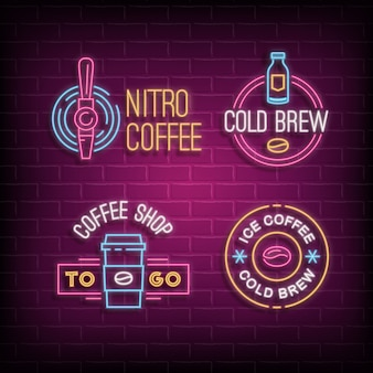 Cold brew coffee and nitro coffee neon logos. glowing badges on brick wall background
