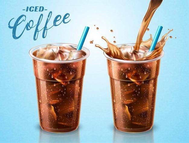 Чашка на вынос холодного заваренного кофе с жидкостью, льющейся в контейнер