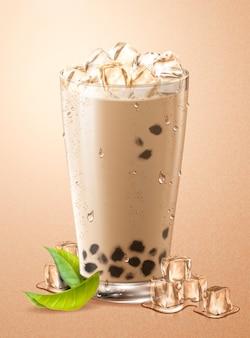 Холодный пузырьковый чай с кубиками льда и зелеными листьями в стеклянной чашке
