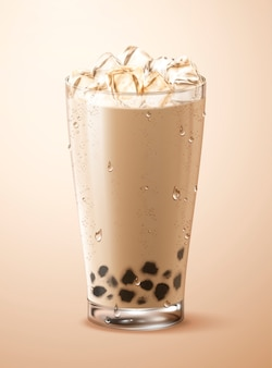 Cold bubble tea with ice cubes in glass cup