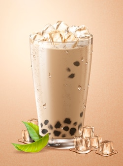 Cold bubble tea with ice cubes and green leaves in glass cup
