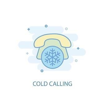 콜드 콜링 라인 개념입니다. 간단한 라인 아이콘, 컬러 그림입니다. 콜드 콜 기호 평면 디자인입니다. ui/ux에 사용할 수 있습니다.