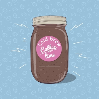 Cold coffee or chocolate milkshake in mason jar with round label on blue background with seamless pattern of coffee beans. vector hand drawn illustration.