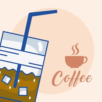 Cold coffee cup concept vector illustration graphic design