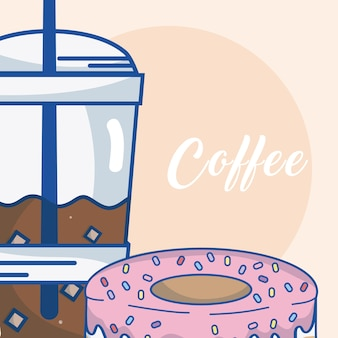 Cold coffee cup with donut