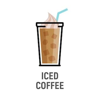 Холодный кофейный напиток плоский дизайн значок. изолированная чашка кофе со льдом.
