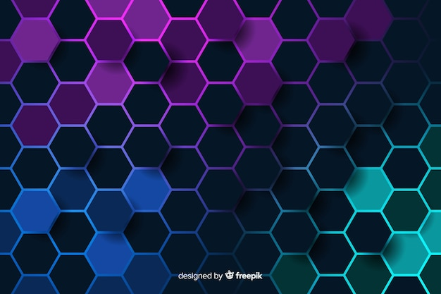 Cold coloured honeycomb of digital circuit background