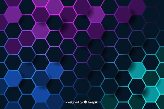 デジタル回路の背景の冷たい色のハニカム