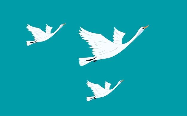 Cold dew solar terms illustration autumn swan flying autumn bird flying poster