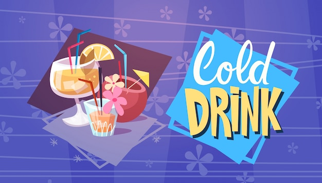 Cold drink cocktails summer time vacation sea travel retro banner seaside holiday
