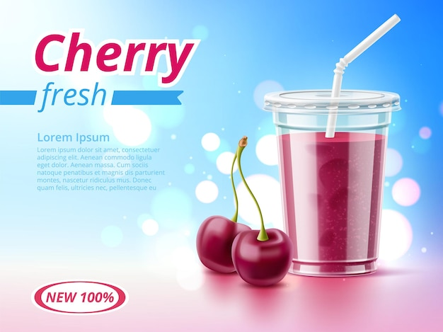 Cold drink poster. realistic cherry beverage, advertising banner with plastic takeaway cup and tube, healthy berry smoothie. vector concept
