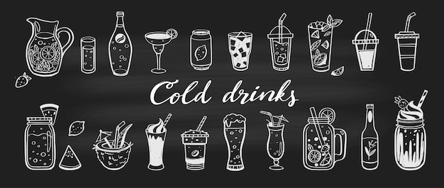 Cold drinks and summer cocktails, beverages collection