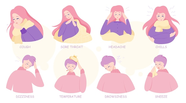 Cold or flu symptoms infographic. fever and cough, sore throat. idea of medical treatment and healthcare.  illustration