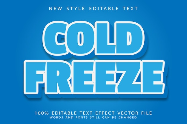 Cold freeze editable text effect emboss modern style