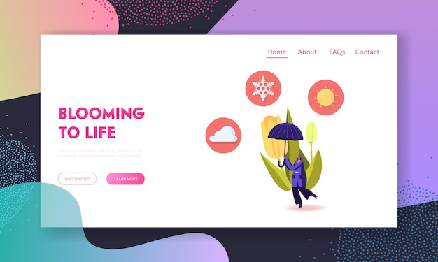 Cold and freezing spring weather landing page template.