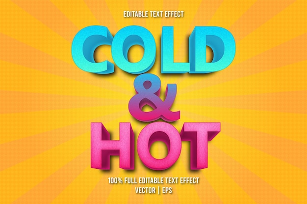 Cold & hot editable text effect comic style