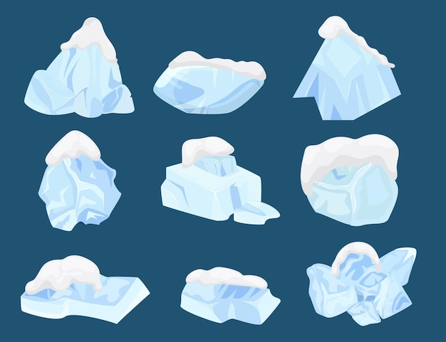 Cold ice set winter frost  vector illustration crystal blue block design freeze water collection and...
