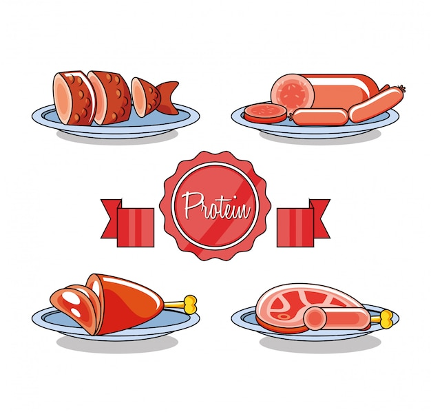 Cold meats products set