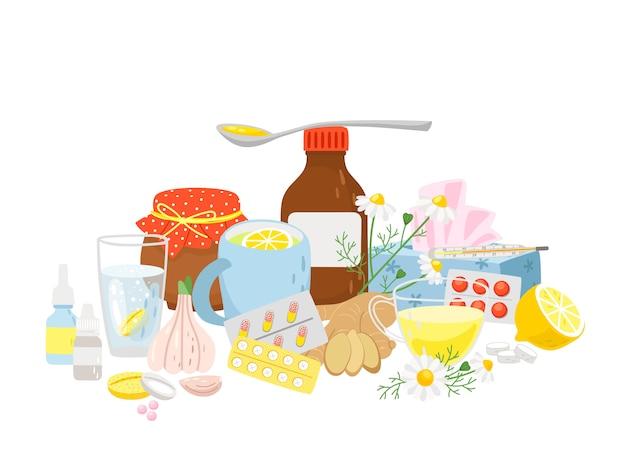 Лекарство от простуды, таблетки сиропа, чай с лимоном, чесноком, имбирем