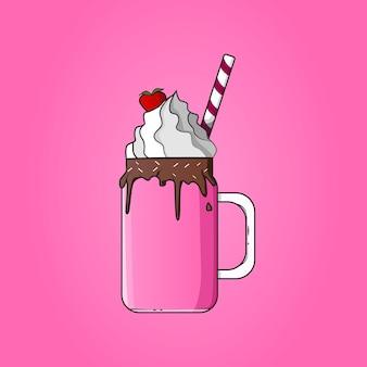 딸기 초콜릿 일러스트와 함께 차가운 밀크 쉐이크 아이스크림