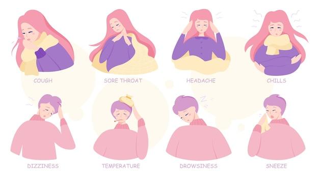 風邪やインフルエンザの症状のインフォグラフィック。発熱と咳、喉の痛み。医療とヘルスケアのアイデア。図