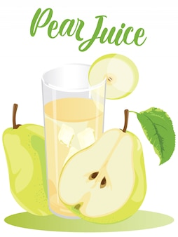 Cold pear juice in white background