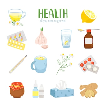 Cold remedy icons set