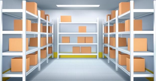 Холодильная камера на складе с картонными коробками на стеллажах. реалистичный интерьер промышленного склада с полками, кафельными стенами и полом. холодильная камера на заводе, в магазине или в ресторане
