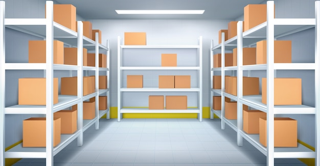 Cold room in warehouse with cardboard boxes on racks. realistic interior of industrial storage with shelves, tiled walls and floor. refrigerator chamber in factory, store or restaurant