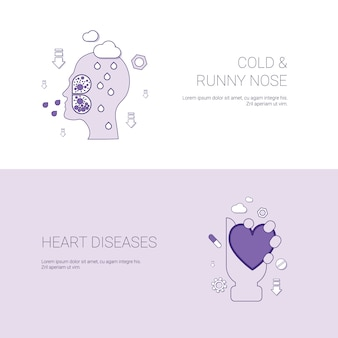 Cold runny nose and heart diseases concept template banner