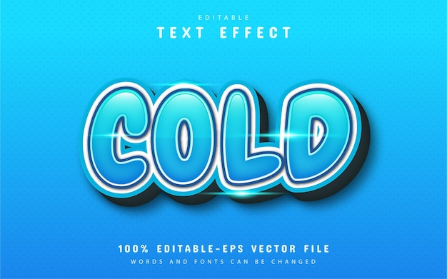 Cold text effect with blue gradient