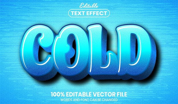Cold text, font style editable text effect