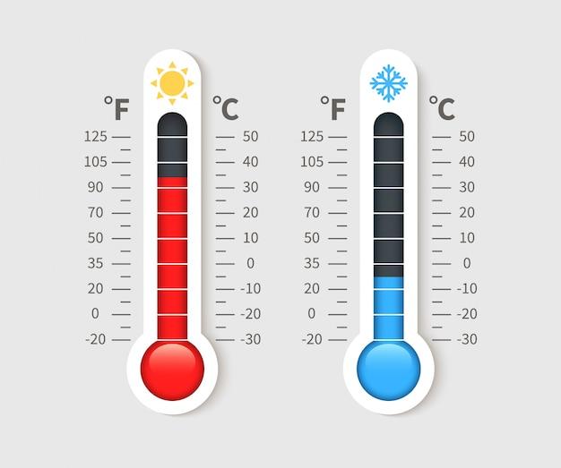 Холодный теплый термометр. температурные погодные термометры с градусами цельсия и фаренгейта. термостат значок метеорологии