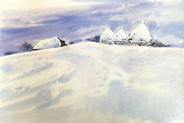 Cold watercolor winter mountain landscape with snow art scenery