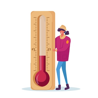 Cold weather concept. woman with thermometer